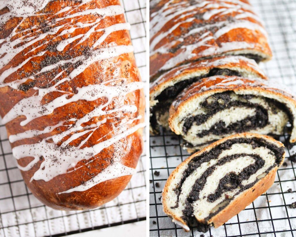 collage of two pictures of whole and sliced makowiec roll.