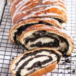 roll of yeast dough filled and sliced.