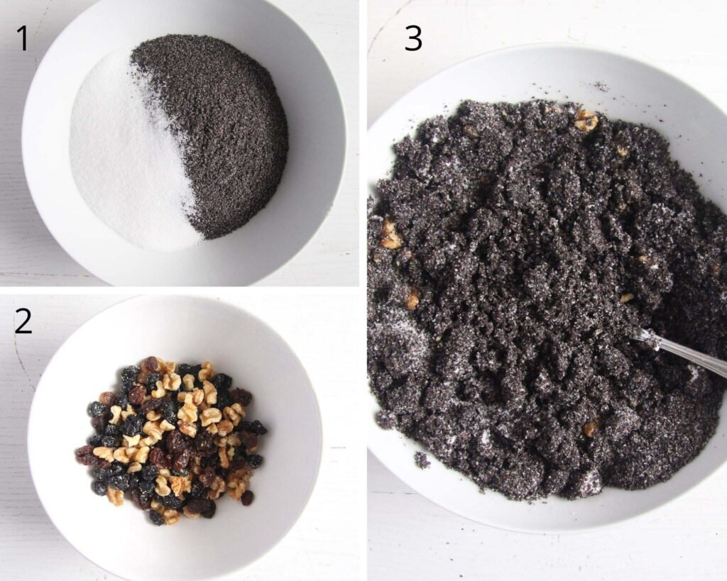 collage of three pictures of making poppy seed filling for cake.