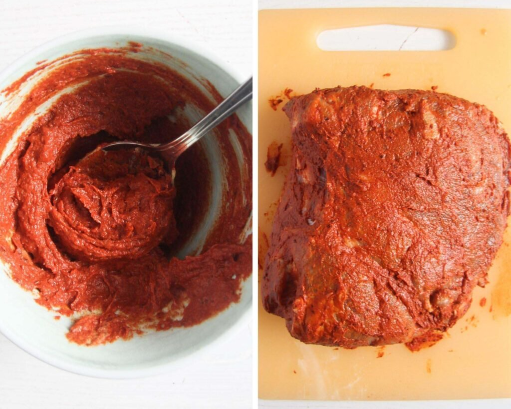 collage of two pictures of mixing rub and rubbing meat with it.