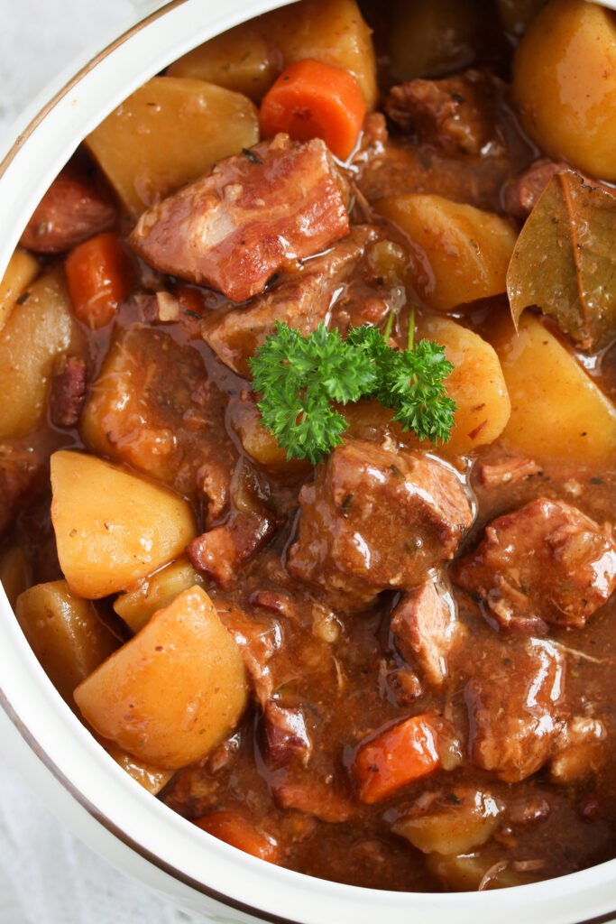 lamb casserole made in the slow cooker with potatoes and carrots.