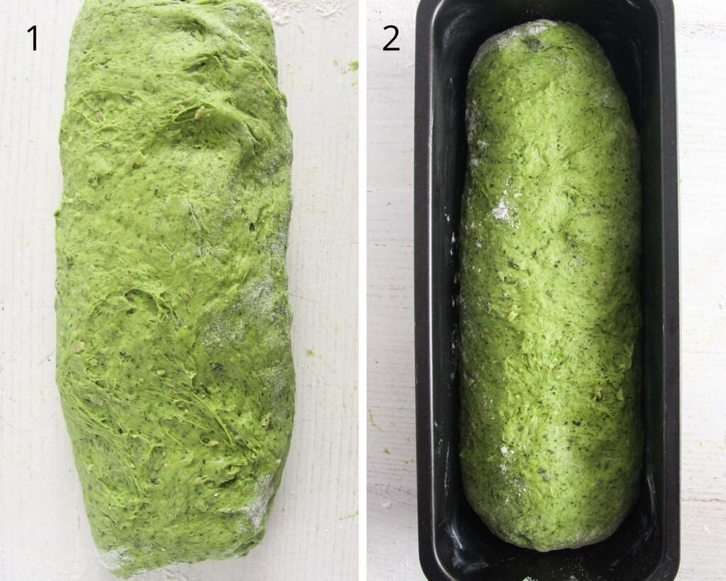 green dough folded and in a baking tin.