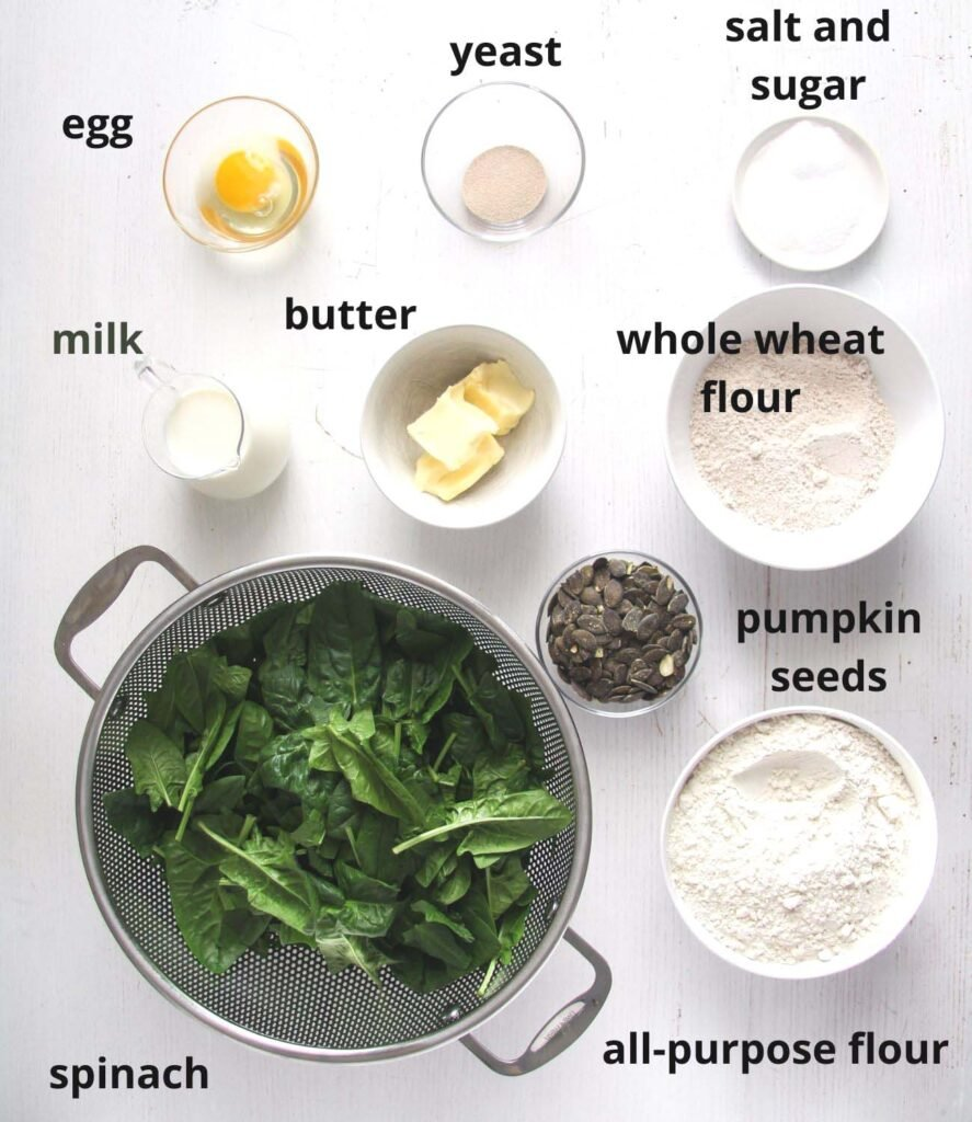 ingredients for spinach bread in bowls.