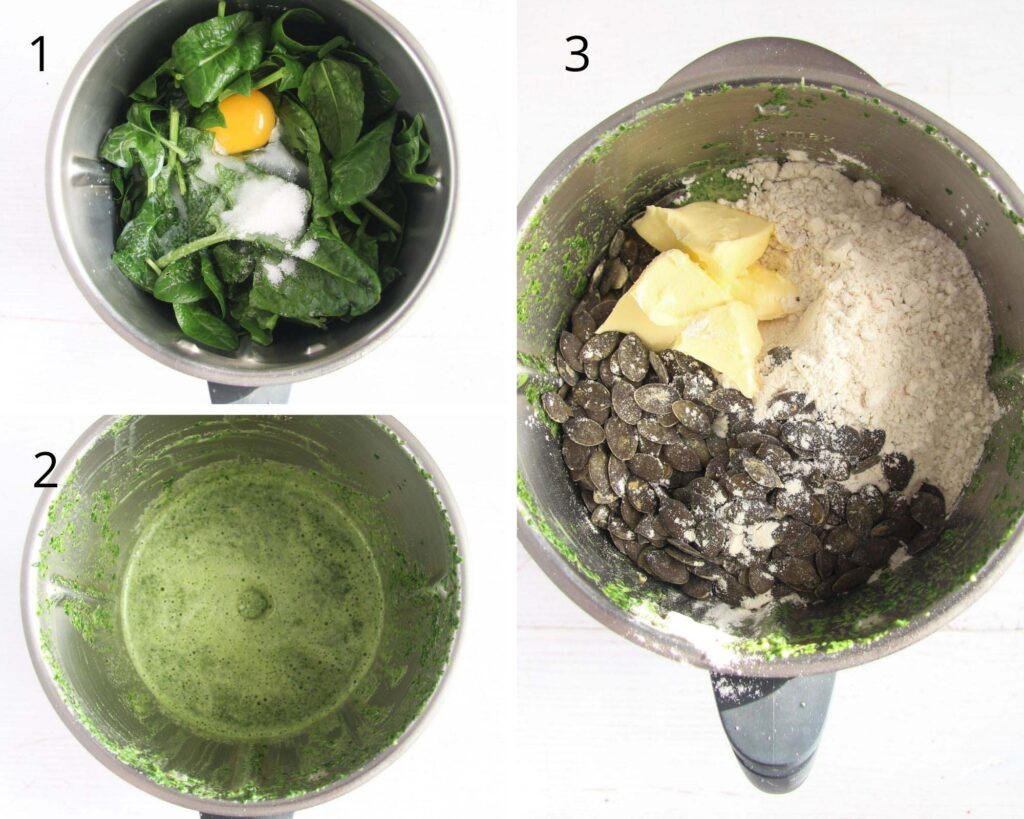thermomix with spinach, egg, flour and pepitas inside.