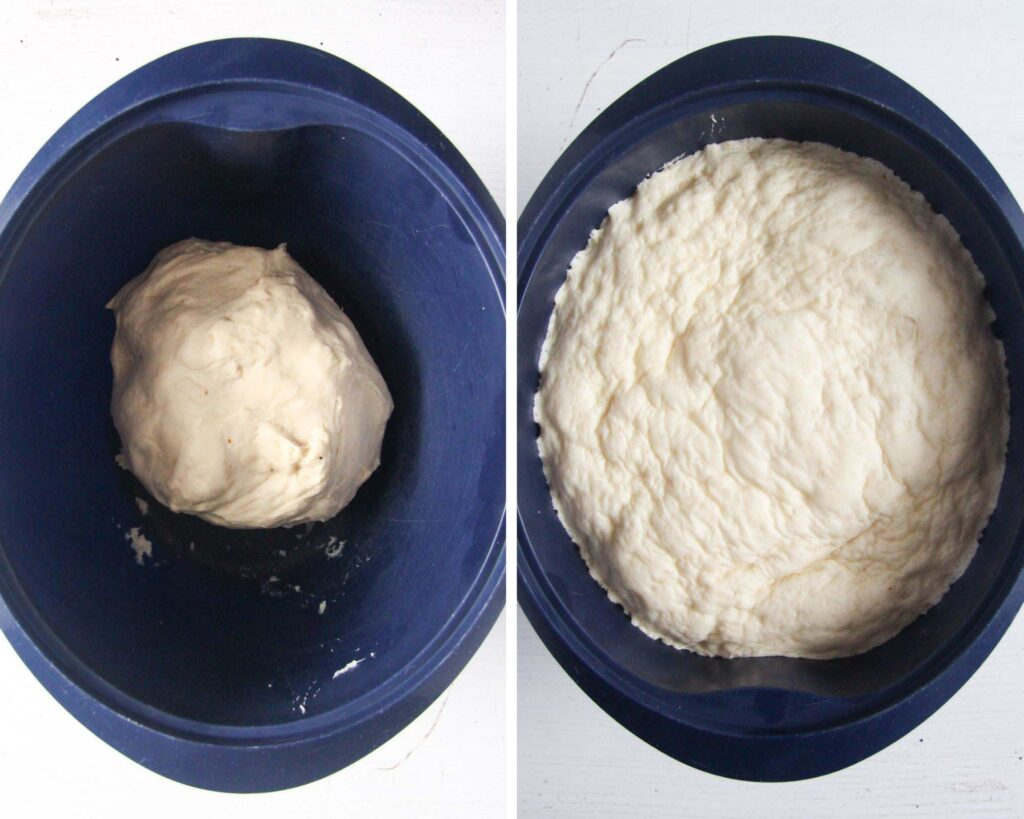 collage of two pictures of yeast dough before and after rising.
