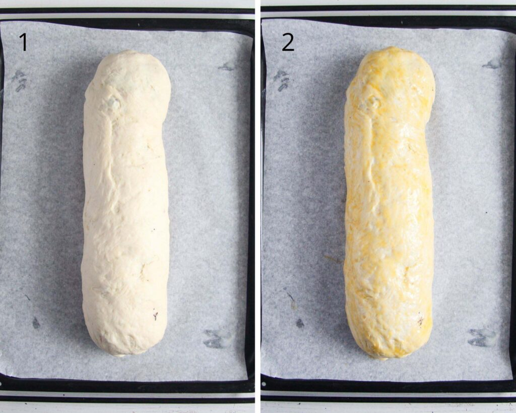 collage of two pictures of rolled yeast dough.