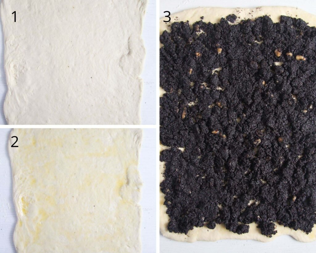 collage of three pictures of rolling dough and spreading the filling on top.