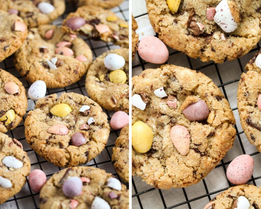 collage of two pictures of cookies with pastel chocolate eggs.