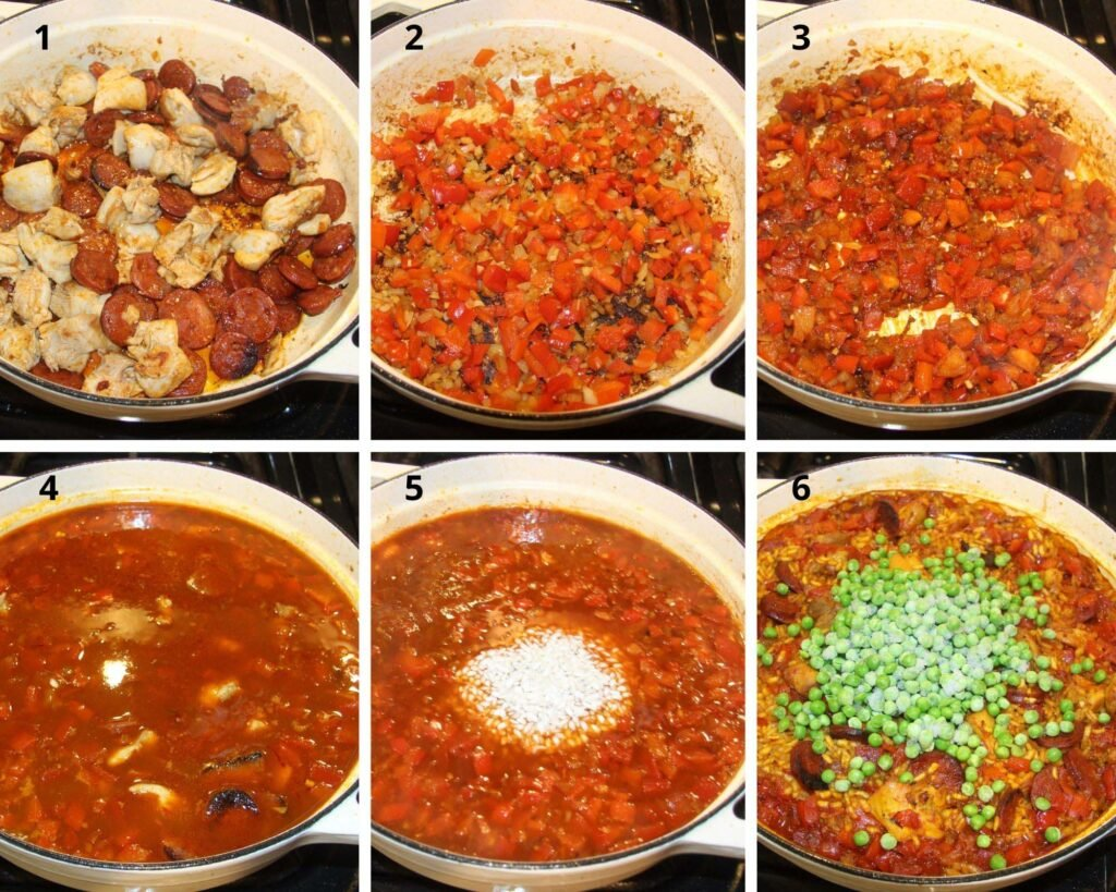 collage of six pictures of making paella step by step.