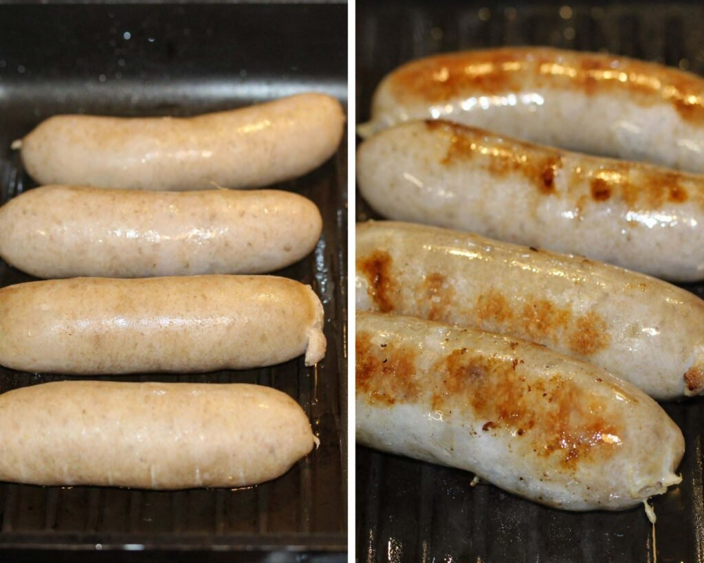grilled sausages raw and golden.