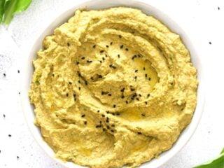 wild garlic hummus in a bowl.