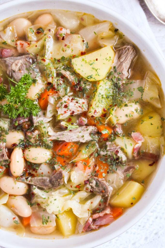close up lamb soup with potatoes.