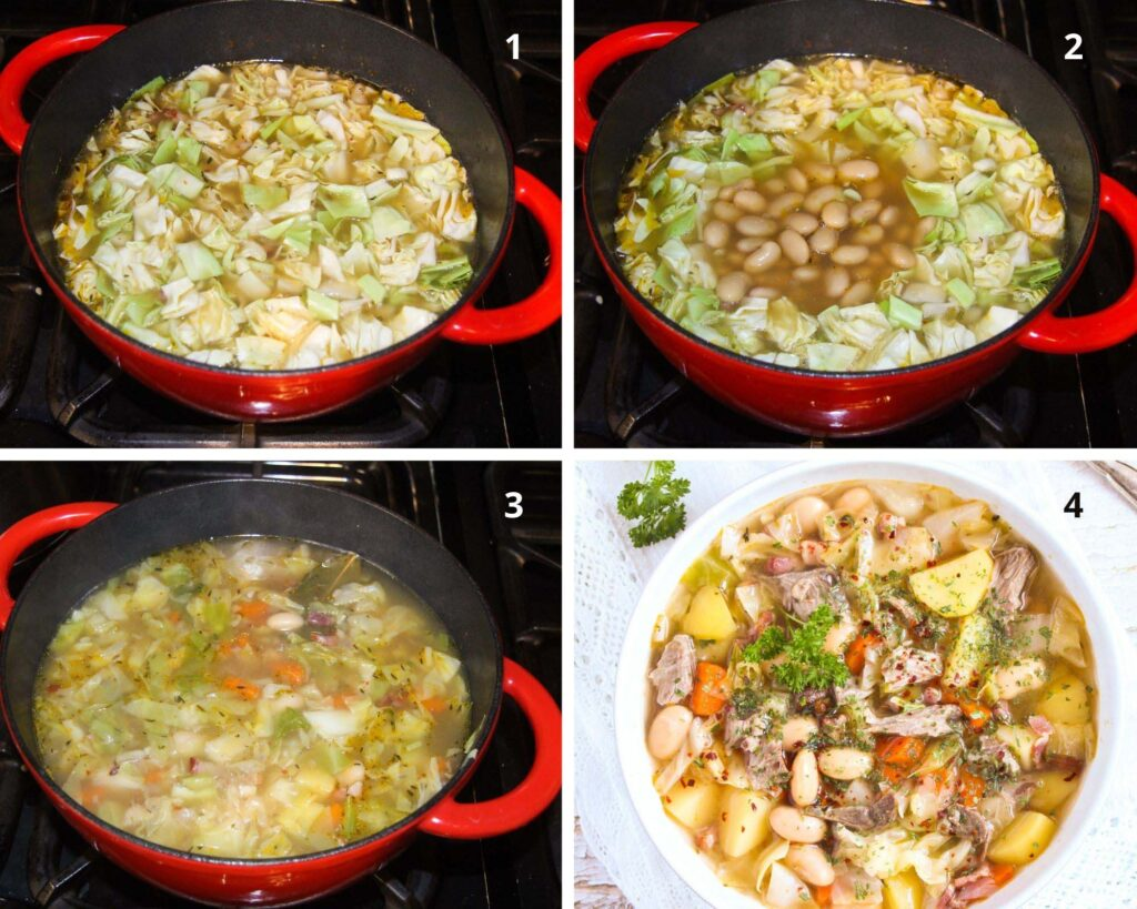 collage of four pictures of making soup with cabbage and lamb.