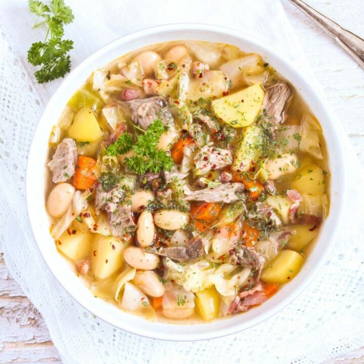 lamb bone soup with vegetables and beans.
