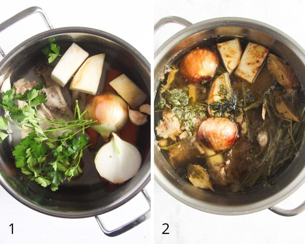 bones and vegetables in a pot before and after cooking broth.