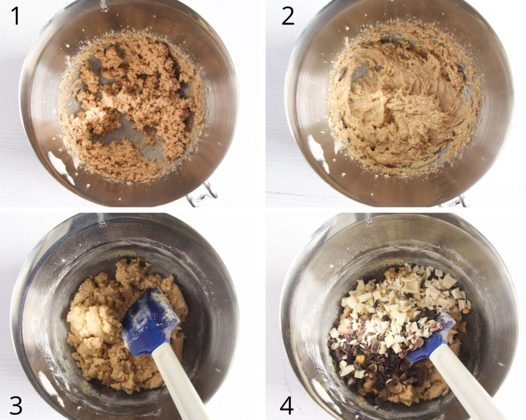 collage of four pictures of making dough for cookies.