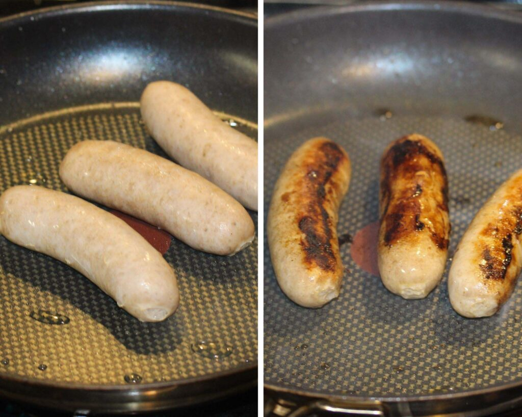 frying bratwurst in a pan before and after cooking.