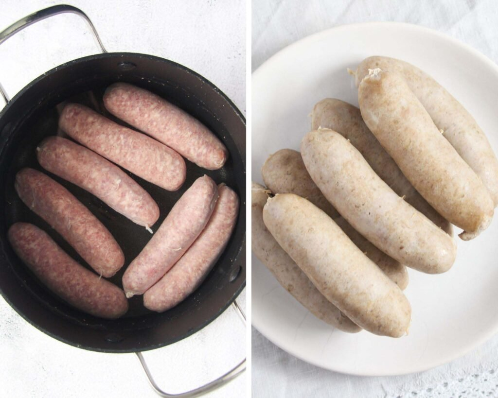 collage of two pictures of precooked bratwurst in a small pan.