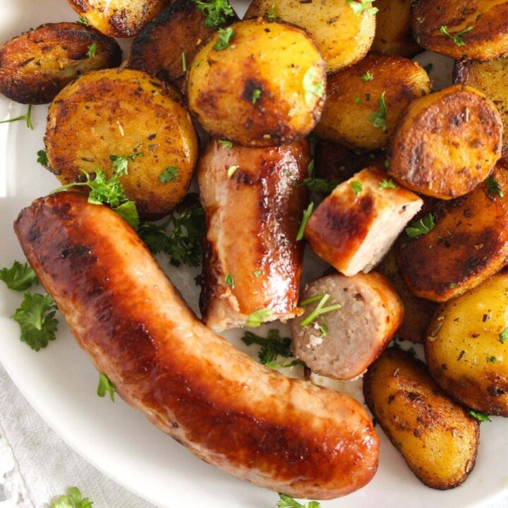 cooking frozen sausages and serving with roasted potatoes.