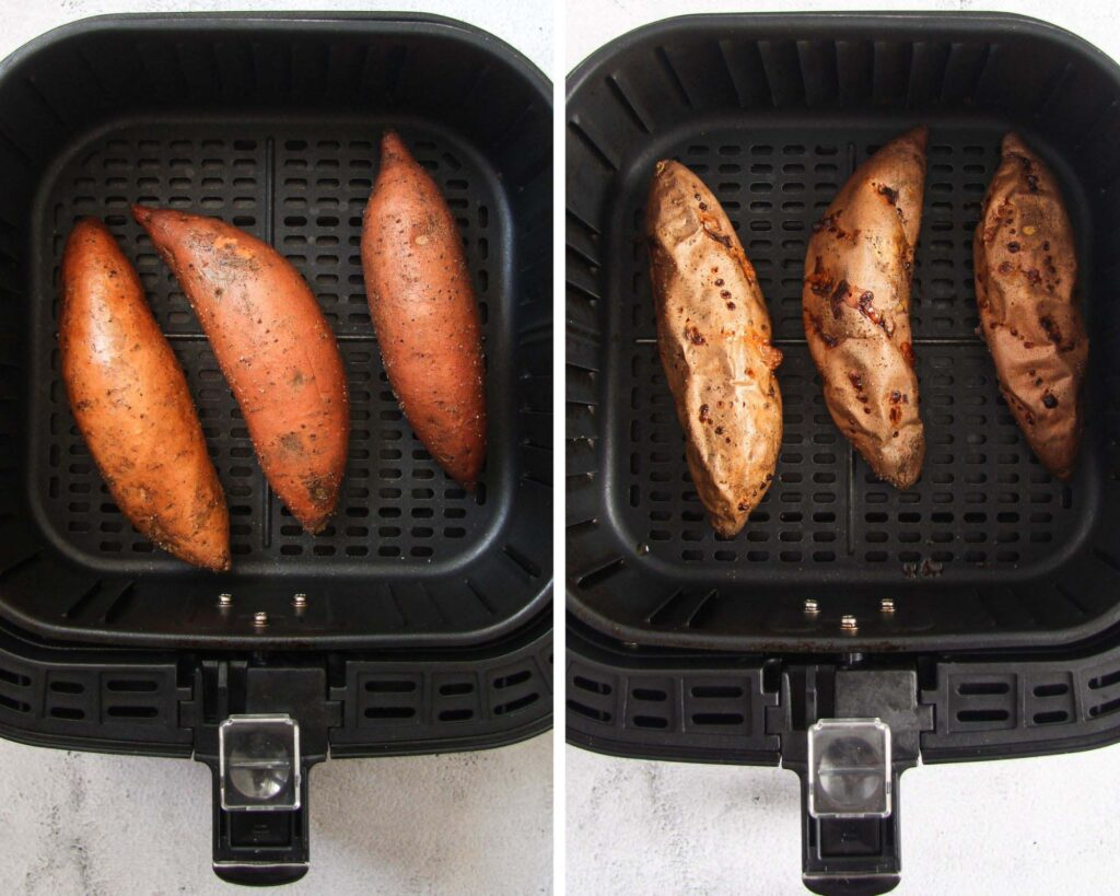 collage of two pictures of raw and baked sweet potatoes in air fryer.