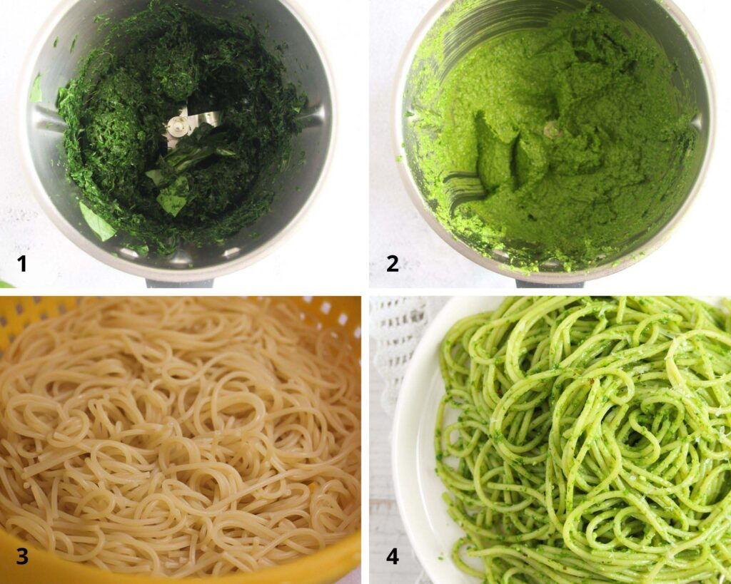 collage of four picture of making spaghetti with pesto.