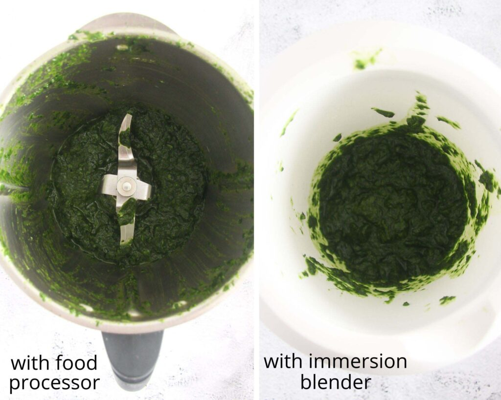 collage of two pictures of herb mixture in a thermomix and in a mixing bowl.