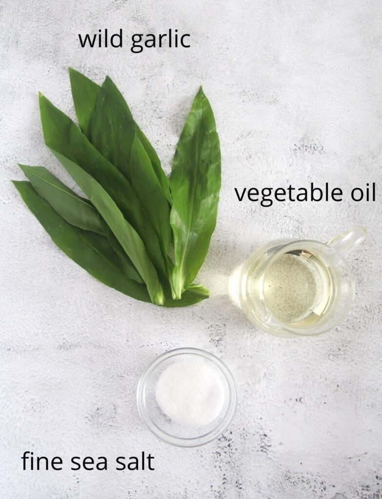 wild garlic leaves, oil and salt to make herb paste.