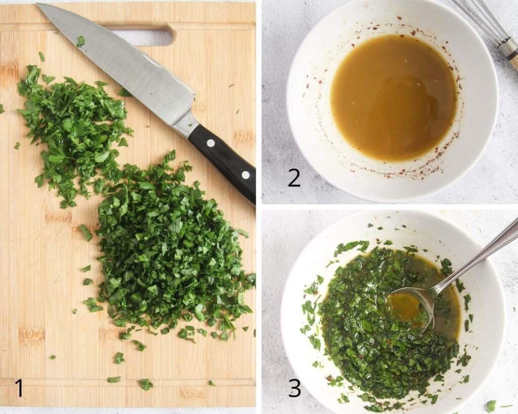 collage of three pictures of chopping herbs and mixing with oil and vinegar.