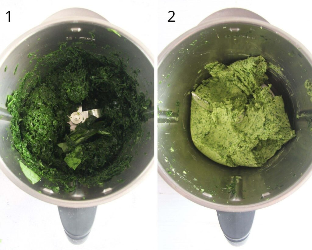 collage of two pictures of mixing herbs in a thermomix.