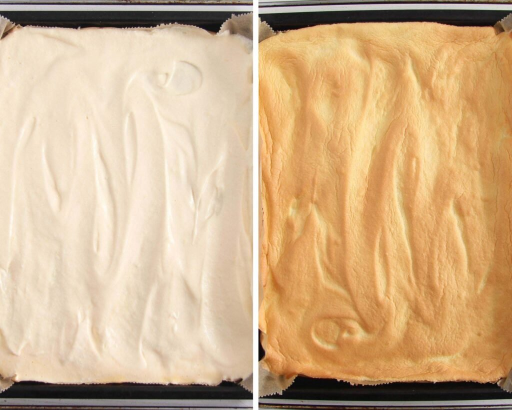 collage of two pictures of unbaked and baked batter on a tray.