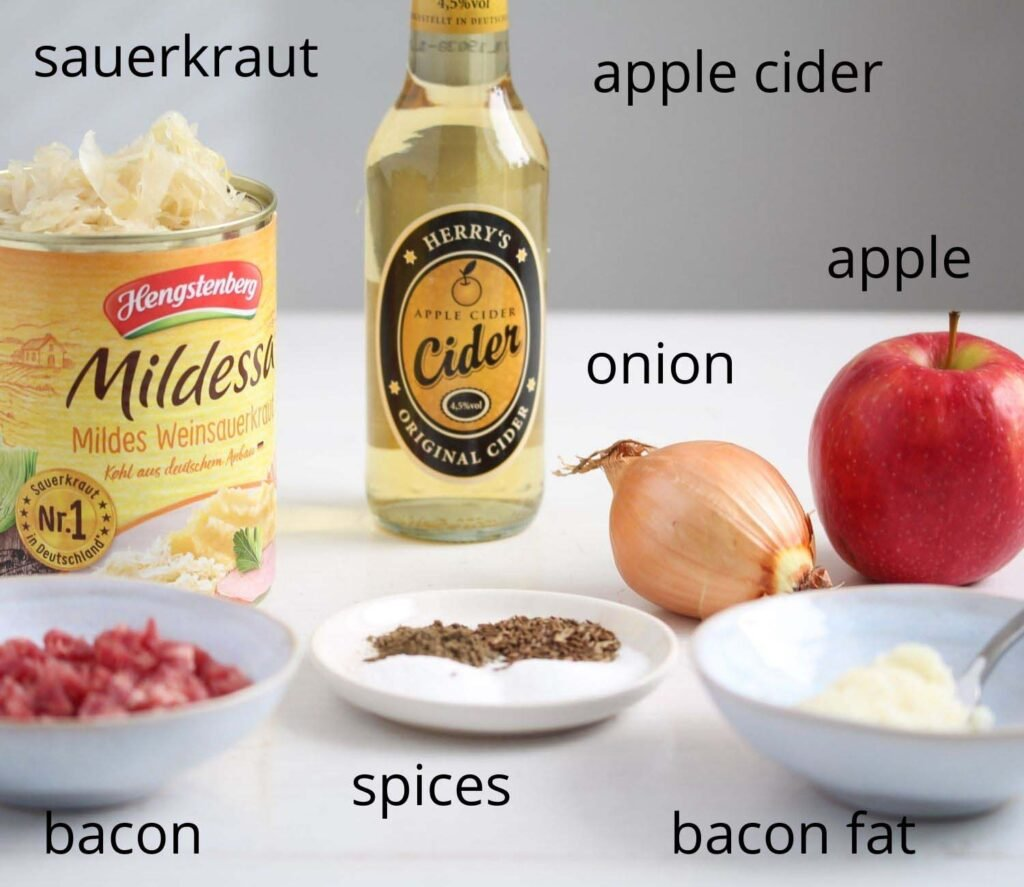 labeled ingredients needed to make sauerkraut on the table.