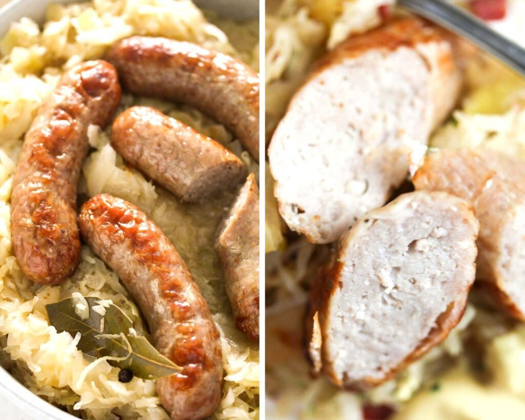 collage of two pictures. Sausages on a bed of kraut and one sliced brat close up.