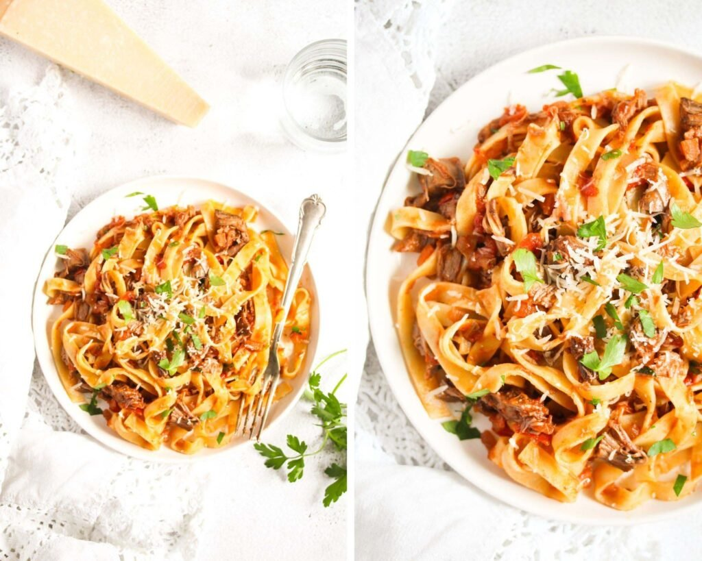 collage of two pictures of pasta with meat sauce and parmesan.