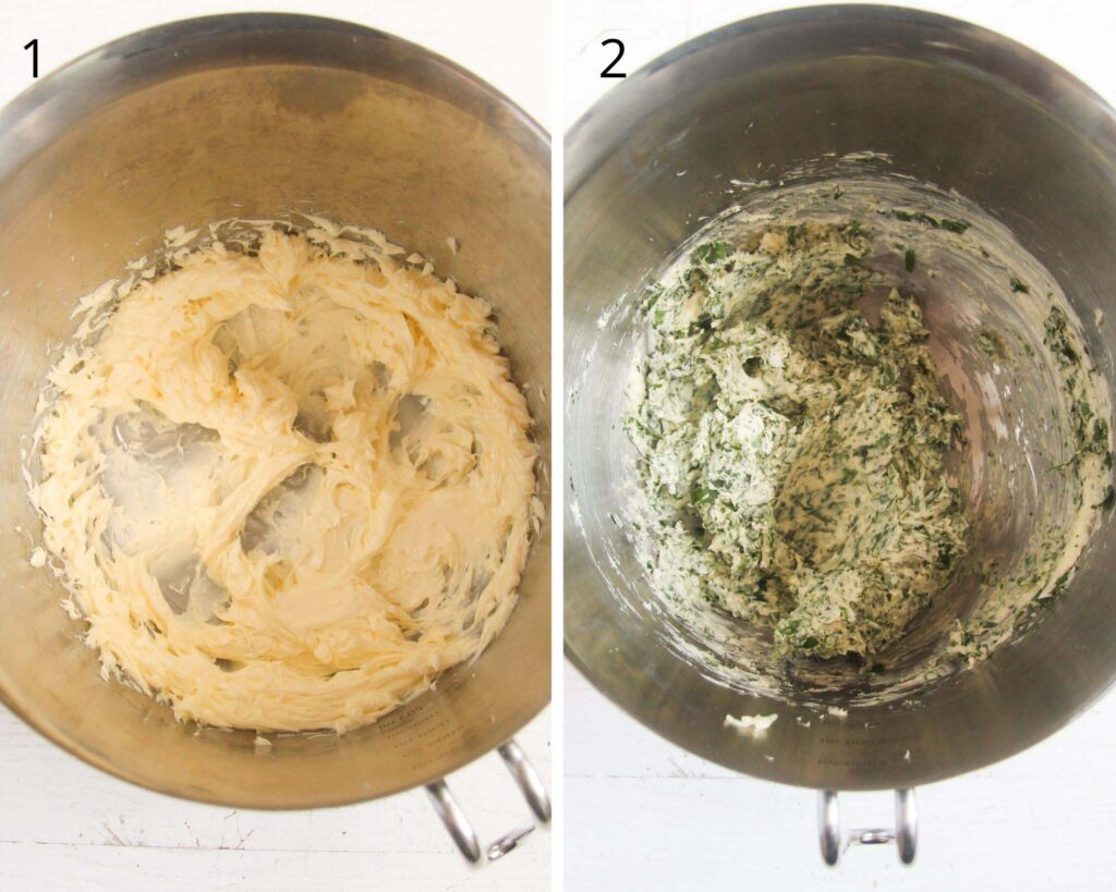 mixing butter with herbs in a bowl.
