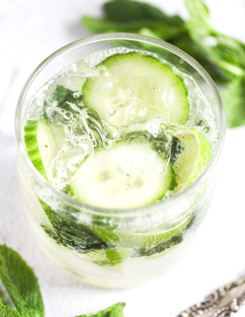 gin cocktail mojito style in a small glass.