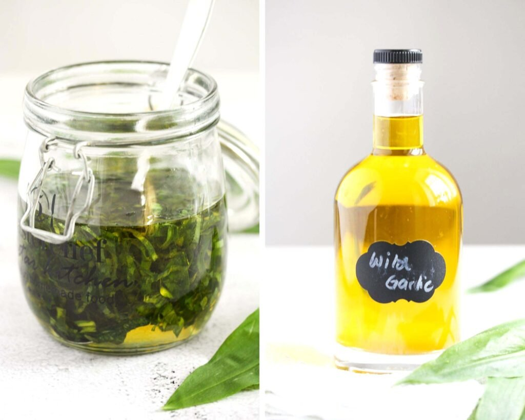 collage of two pictures of herb oil before and after decanting.
