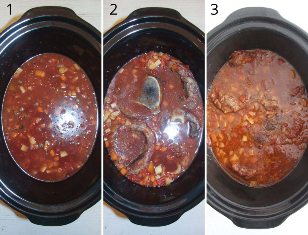 collage of three pictures of cooking veal shanks in a slow cooker.