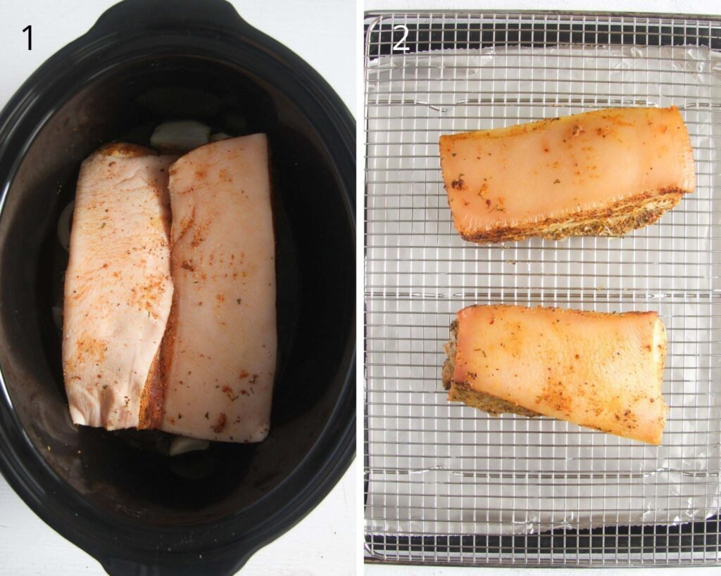 collage of two pictures of raw pork belly pieces in a crockpot and then cooked on a roasting rack.