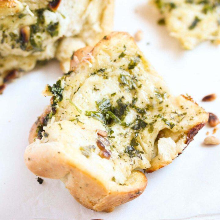 wild garlic bread slice overhead view.