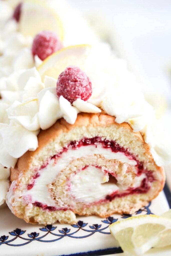 swiss roll filled with raspberry lemon filling.