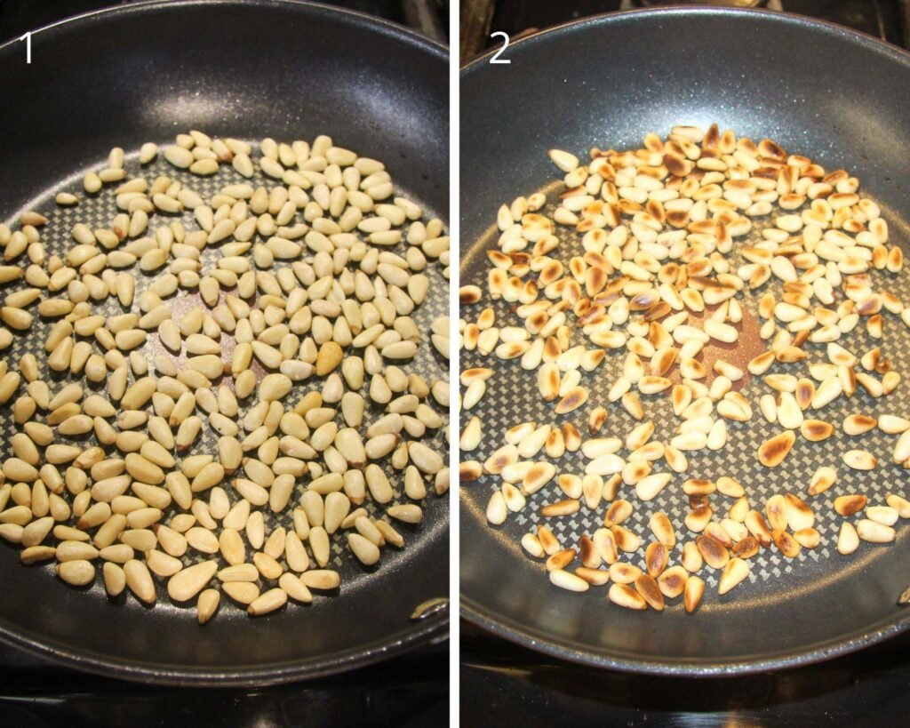 unroasted and roasted pine nuts in a pan.