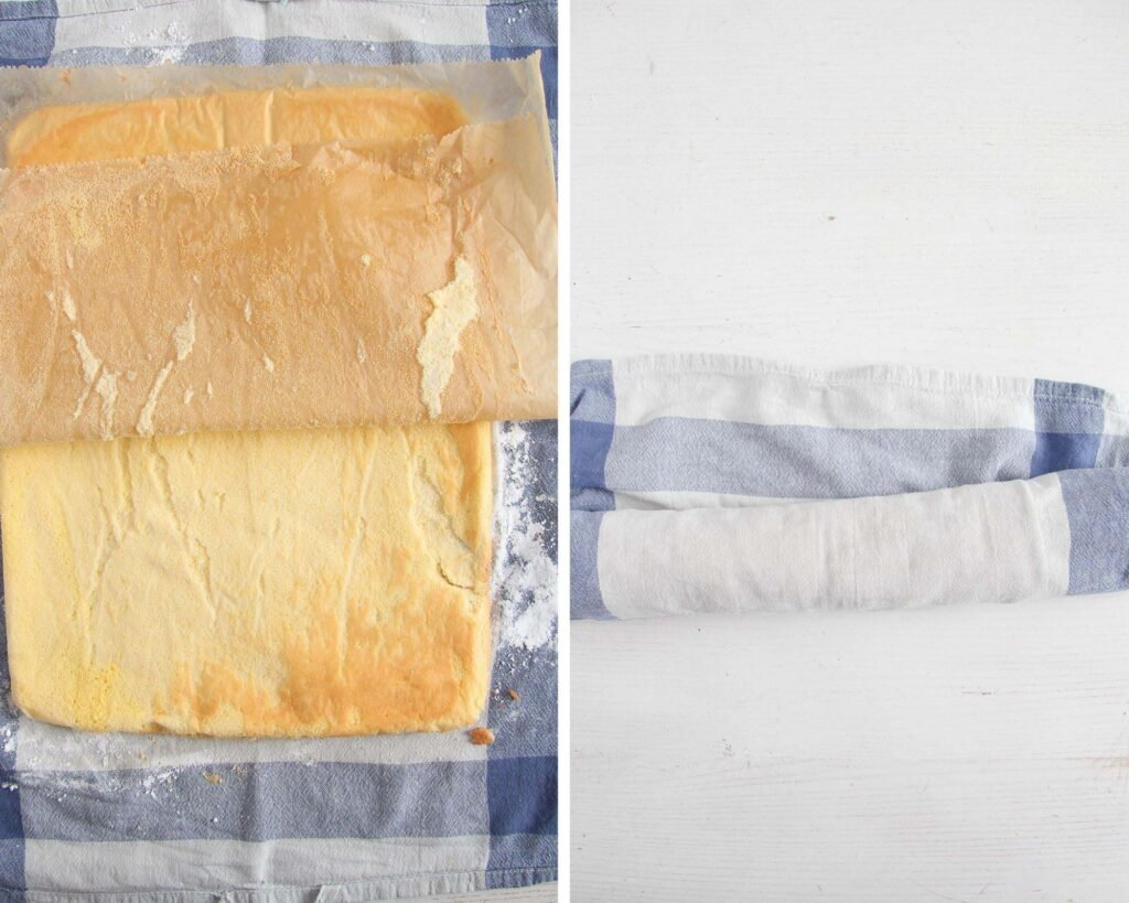 peeling baking paper from cake and rolling it into towel.