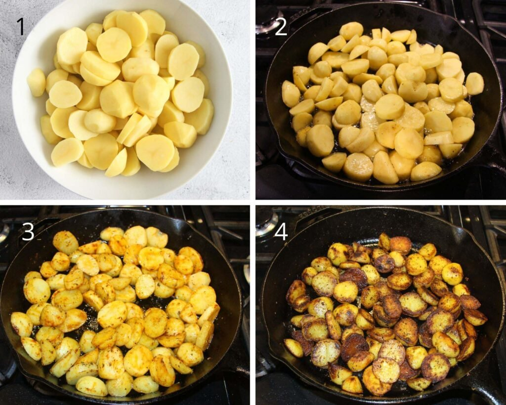 collage of three pictures of cut potato slices and frying them in a cast iron pan.