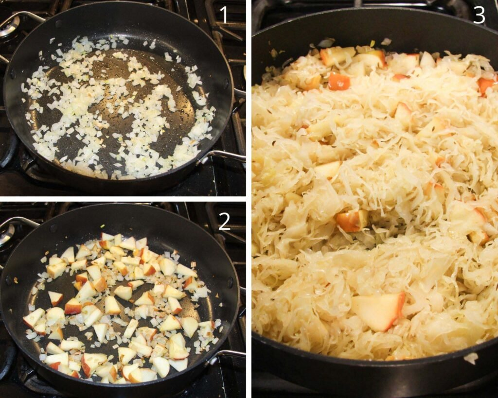 collage of three pictures of frying onions, apples and sauerkraut in a black pan.