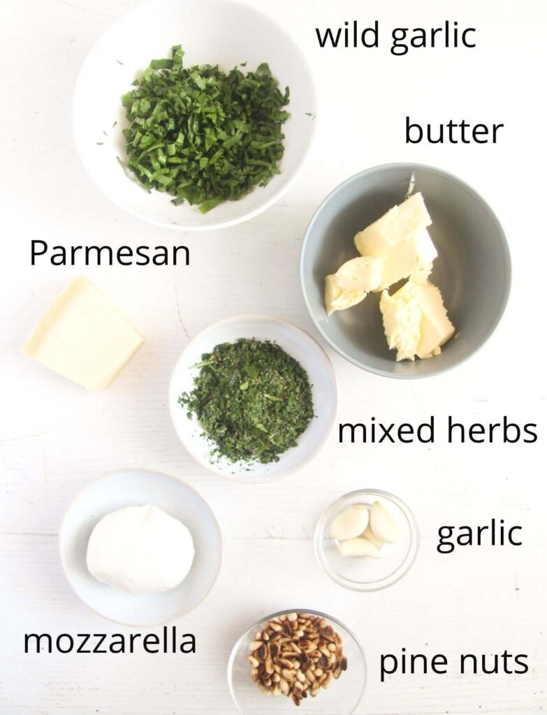 listed ingredients for making a herb butter filling.