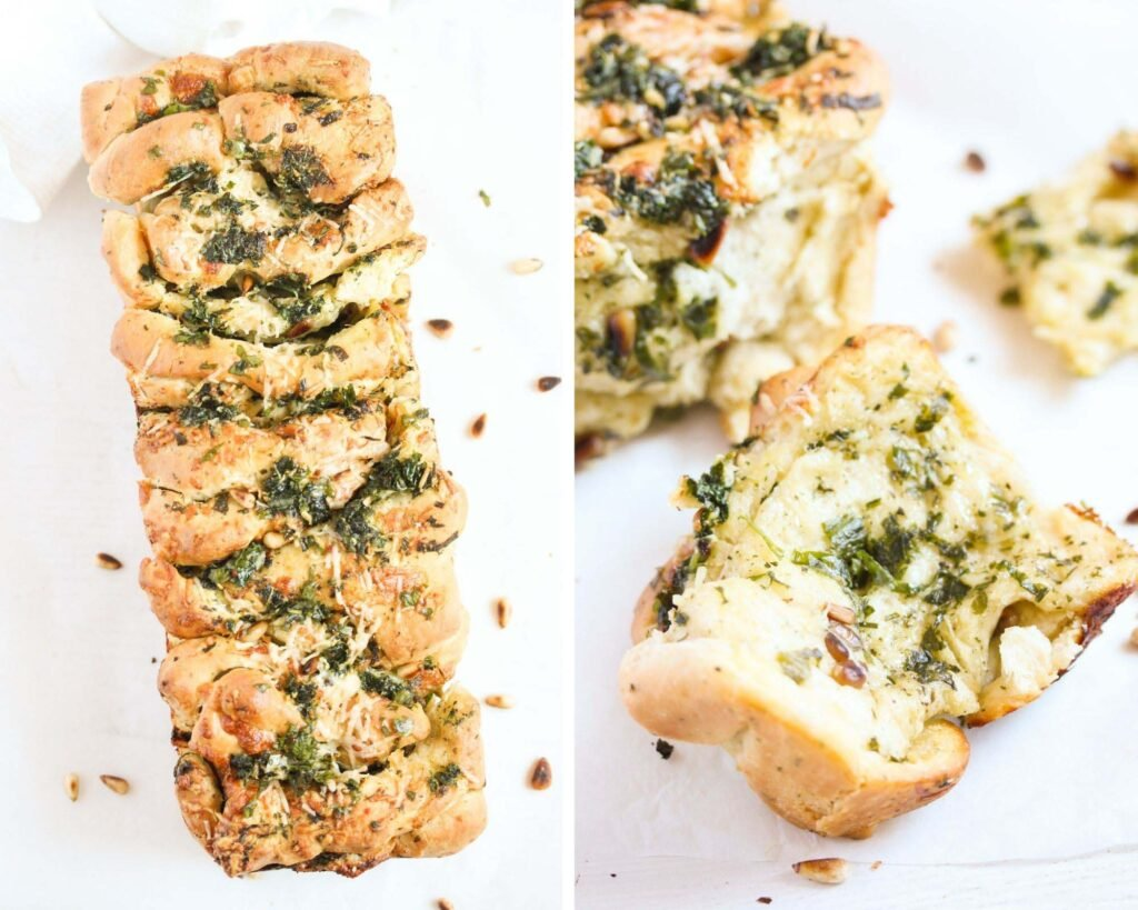 collage of two pictures of bread with butter and wild garlic leaves.