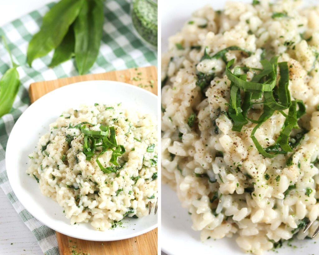 collage of two pictures of risotto with ramsons.