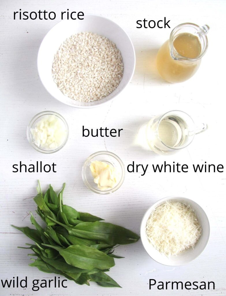 listed ingredients for making risotto.