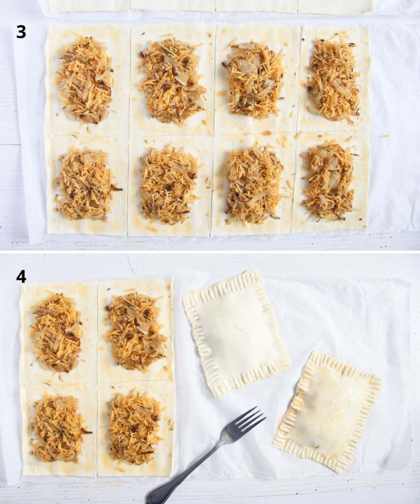 collage of two pictures of filling puff pastry with cheese and onions, closing and crimping them with a fork.