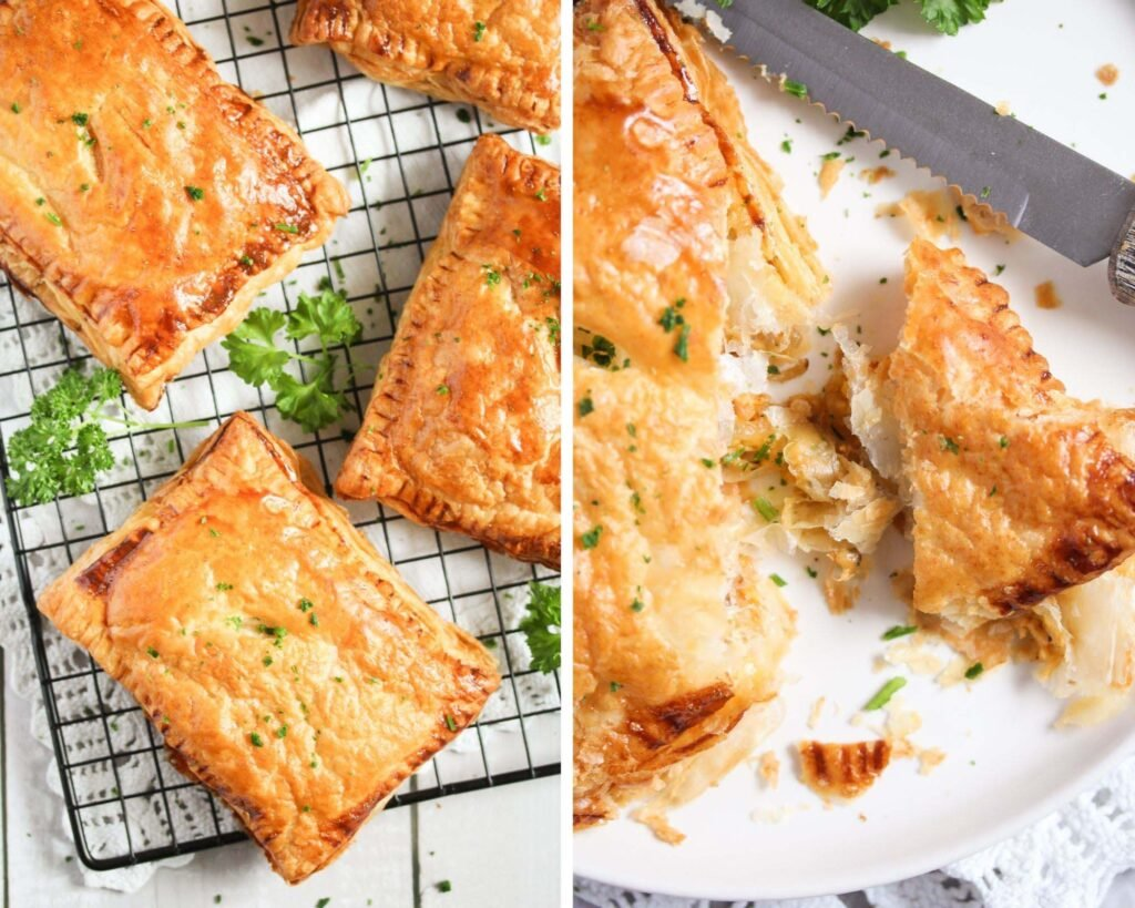 collage of two pictures of cheese pasties on a wire rack and cut on a plate.